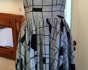 Amazing 80's abstract geometric black and white crossback sundress