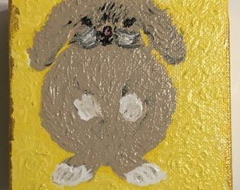Yellow Bunny Painting Original Art by CLTreat