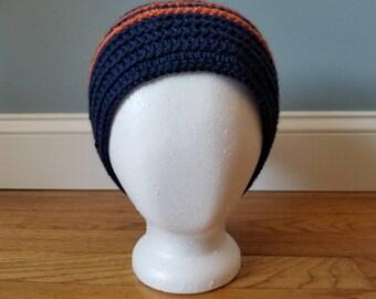 Unisex Crochet beanie in blue and orange great for Denver fans