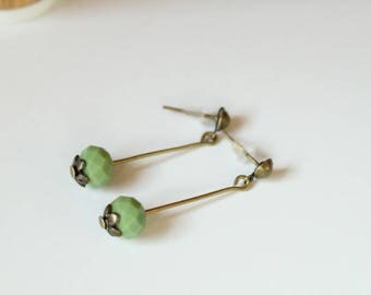 Chip earrings on light green stem and faceted beads