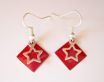 enamelled sequin red diamond and Star Silver Earring