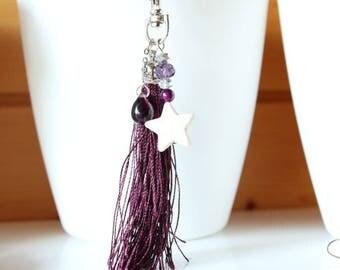 Plum purple tassel and ecru howlite star key ring bag charm