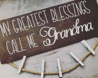 My Greatest Blessings/ Grandkids Wooden Picture Hanging Sign