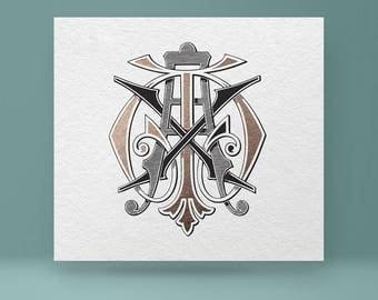 Vintage Wedding Monogram Gs Sg