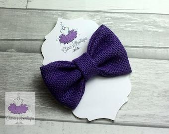 Burlap Hair Clips, Bow Hair Clips, Purple Burlap hair clip, Fabric bow, Hair bow