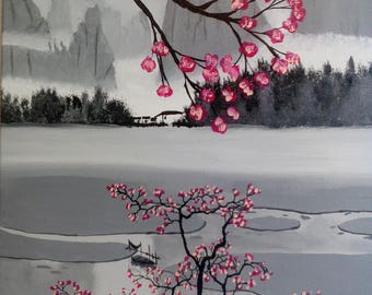 Japanese River boat acrylic painting