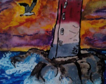 Lighthouse on stormy sea, Acrylic paint.