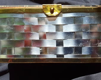 Silver Basket Weave and Lucite Purse