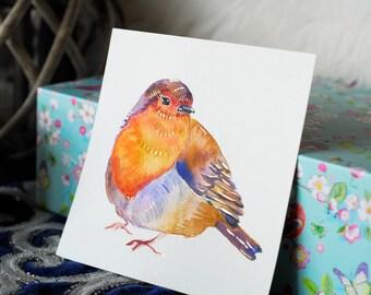 Robin Original art, Colourful Bird Artwork, Miniature Bird artwork, Red Robin Art, Watercolour Bird, Bird Art