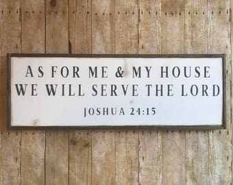 1x3 BESTSELLER As For Me and My House We Will Serve the Lord spiritual, Christian, verse, farmhouse decor, farmhouse, rustic, Joshua 24 15