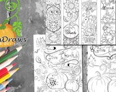 Thanksgiving coloring pages -2 colouring pages and bookmarks- printable pages instant download