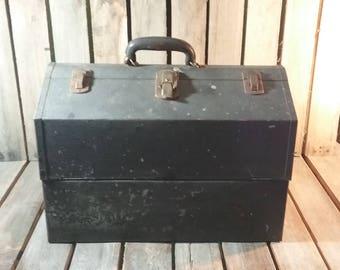 Kennedy Tool Box, Vintage Tool Box, Metal Tool Box, Tool Box With Leather Handle, Large Tool Box, Old Tool Box, Vintage Tool Box, Toolbox