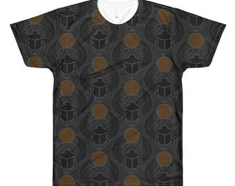 Kemetyuwear Khepera (Black-on-Orange) All-Over Printed T-Shirt