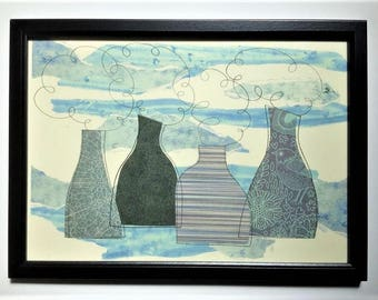 Abstract pot bank collage, framed