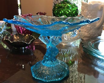 Antique Aqua Tree Trunk Pedestal Candy Dish by Portieux Vallerysthal