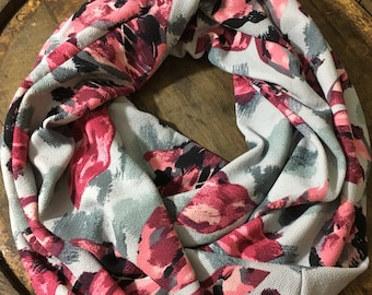 Pink/gray Floral Infinity