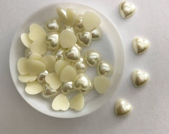 10mm heart flatback pearl