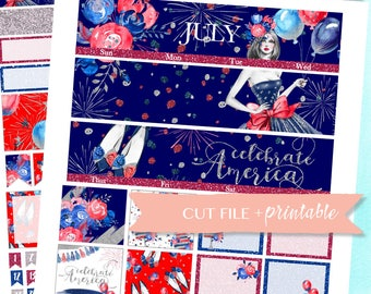 JULY MONTHLY KIT Printable, 4th of july planner stickers, Monthly view, printable planner sticker, independence day, erin condren monthly
