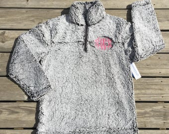 Sherpa Pullover, quarter zip sherpa pullover, quarter zip sweatshirt, monogram sherpa pullover, monogram pullover