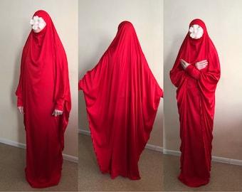 Long red Silk Khimar, muslim dress, nikkah Burqa,Wedding Abaya, traditional hijab,Elegant hijab, Long burqa, Maxi jilbab