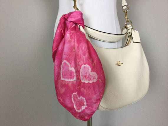 "Valentines Day Sale 20"" Valentine's Day Gifts Purse Scarf, 100% Silk Satin, Pink with Tie Dye Hearts  Purse Scarves #196"