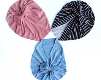 Dusty Rose, Chambray Blue, or Black and White Head Turban Wrap for baby, toddler, child, adult