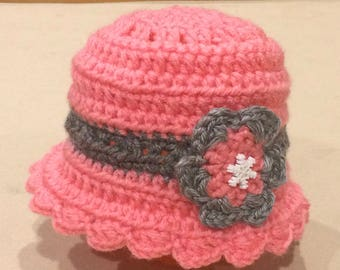 Pink and Gray Baby Hat