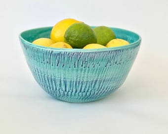 Large Aqua Ceramic Bowl