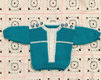 Baby Toddler Hand Knitted Sweater Jumper Blue and White