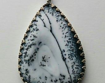 Dendritic Opal in sterling silver bezel pendant
