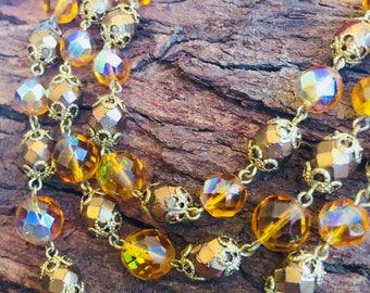 VINTAGE triple strand AURORA BOREALIS Citrine Glass & Gold Necklace, 1950'S