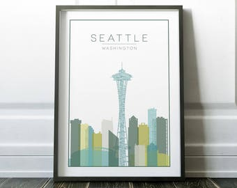Seattle Wall Art travel wall art | etsy