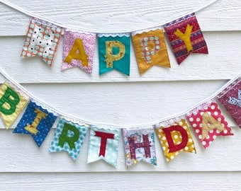 HAPPY BIRTHDAY banner colorful fabric floral lace eclectic