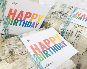 Instant Printable Gift Tags | happy birthday | rainbow colors
