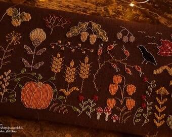 Autumn Treasures - folk-art cross stitch PDF pattern, acorns, maple leaf, fall embroidery,  pumpkin, berries, floral, thanksgiving, sampler