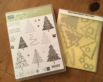 Retired Stampin' Up! Peaceful Pines/ Perfect Pines Framelits Bundle