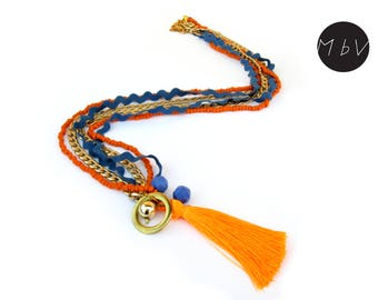 Fashion Jewelry Modern Orange Tassel Long Necklace with Metal Chain, Cotton,  Metal Pendant,  Plastic Beads
