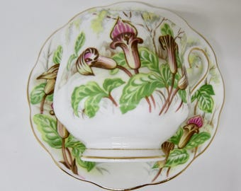 "Royal Albert  ""Jack-in-a-Pulpit"" Floral Pattern Bone China Footed Teacup and Saucer Hampton Shape 1950s (see description)"