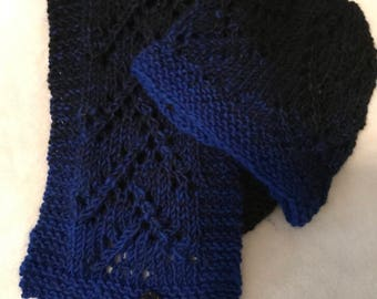Black and blue scarf and hat
