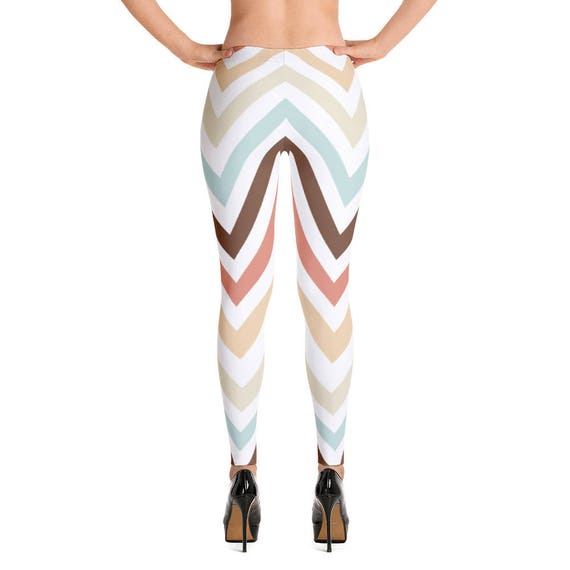 Mocha Latte Chevron Peaks Stripes Leggings,  Women's Leggings, Women's Tight Leggings, Pattern Print Tight Leggings, Legging Tights