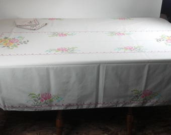 Vintage, hand embroidered, large table cloth, with floral design.