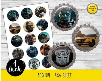 COD173-50% OFF SALE Transformers 5 Digital Collage Sheet-1 inch Bottlecap-Printable Image Download for pendants magnets party bottle cap
