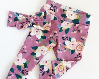 Floral baby leggings and headband set newborn leggings newborn take home baby pants baby girl leggings cotton baby leggings baby
