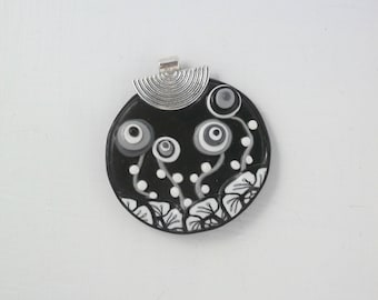 Silver MEDALLION 3 PENDANT polymer clay and bail