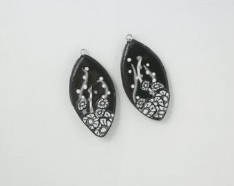 "Pendants in black, grey and white set of two ""Calissons"" polymer clay"