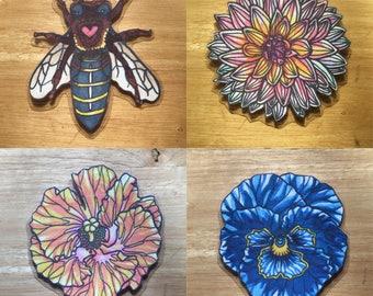 Bee & Flower Magnet Set