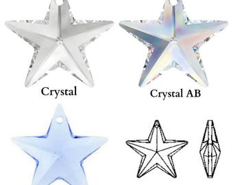 Swarovski Crystal 6714 Star Pendant 28mm All Colours