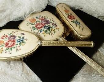 Vintage 50's dressing table set, petit point vanity set, The Regent London hairbrush and mirror set, embroidered vanity set