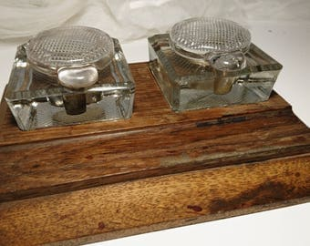 Stylish antique hardwood and cut glass ink stand with ink wells, 1910's edwardian ink stand