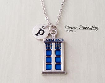 Tardis Necklace - Antique Silver Police Box Pendant - Doctor Who Inspired Jewelry - Personalized Monogram Initial Necklace